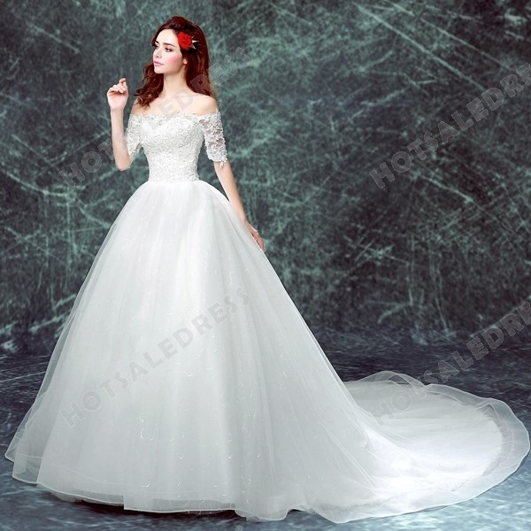 2016 New Strapless Long-sleeved Lace Large Train Bride Wedding Dress – Wedding Dresses