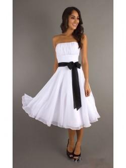 Vicky Princess-Linie Trägerlos Knielang Chiffon Kleid – VickyDress