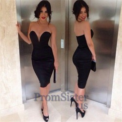 Sexy Plunging Sweetheart Neck Short Fitted Black Dress – $152.00