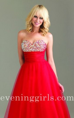 A Line Sweetheart Neckline Ball Gown Red Sequin Prom Dresses Night Moves 6465 [Night Moves 6465] ...
