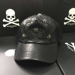 Black Chrome Hearts Leather Cross Patch Embroidered Trucker Cap [Chrome Hearts Caps] – $13 ...