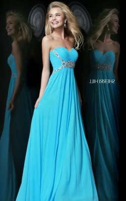 Long Pleated Cheap Sherri Hill 3904 Beading Waist Turquoise Dresses Sale [Sherri Hill 3904 Turqu ...