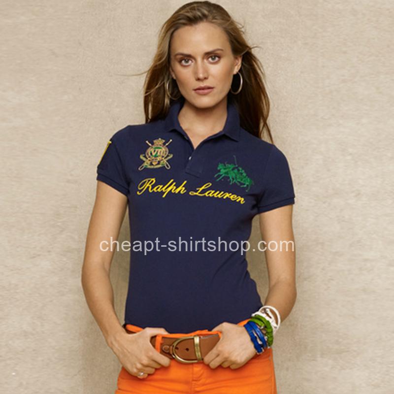Ralph Lauren Womens Dual Match Crest Navy Polo Shirt [Ralph Lauren Polo Shirt] – $55.00 :  ...