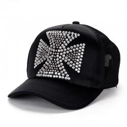 Big Rhinestones Quadrate Cross Chrome Hearts Black Trucker Cap [Chrome Hearts Caps] – $158 ...