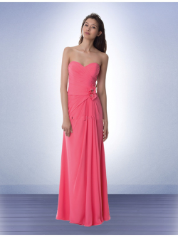 US$134.99 2015 Pink Floor Length Sweetheart Flowers Chiffon Ruched Sleeveless
