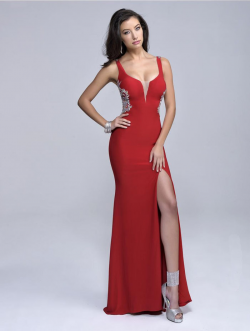US$147.99 2016 Red V-back Sheath Straps Sleeveless Split-front Navy Elastic Satin Floor Length
