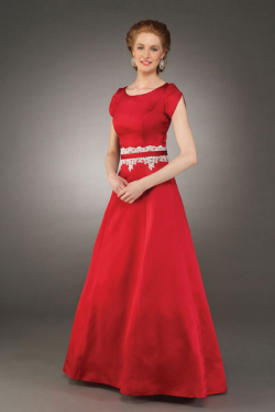 US$163.99 2015 Scoop Red Short Sleeves Bowknot Satin Floor Length Appliques Ruched