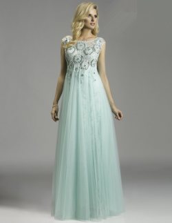 US$191.99 2015 Scoop Tulle Appliques Beading Blue Floor Length