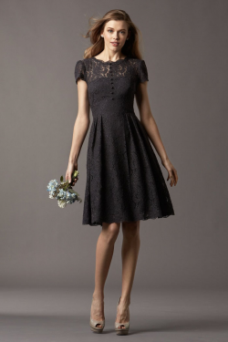 US$135.99 Straps Black Ruched Knee Length Short Sleeves Lace