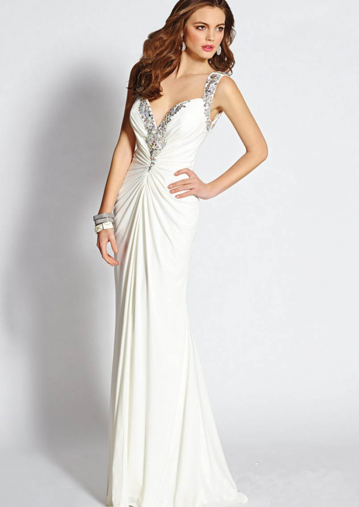 US$145.99 2015 Straps White Open Back Beading Chiffon Ruched Floor Length