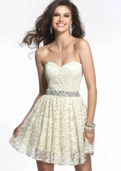 US$130.99 2015 Sweetheart Appliques Chiffon Champagne Short