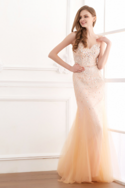 US$171.99 2016 Sweetheart Tulle Ruched A-line Champagne Sleeveless Crystals Zipper Floor Length
