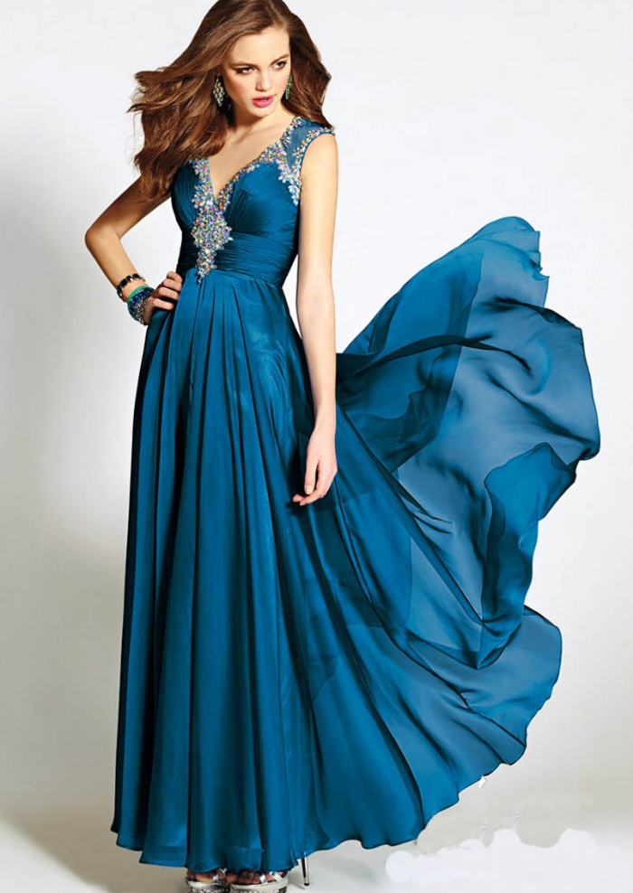 US$142.99 2015 Zipper V-neck Crystals Chiffon Ruched Floor Length