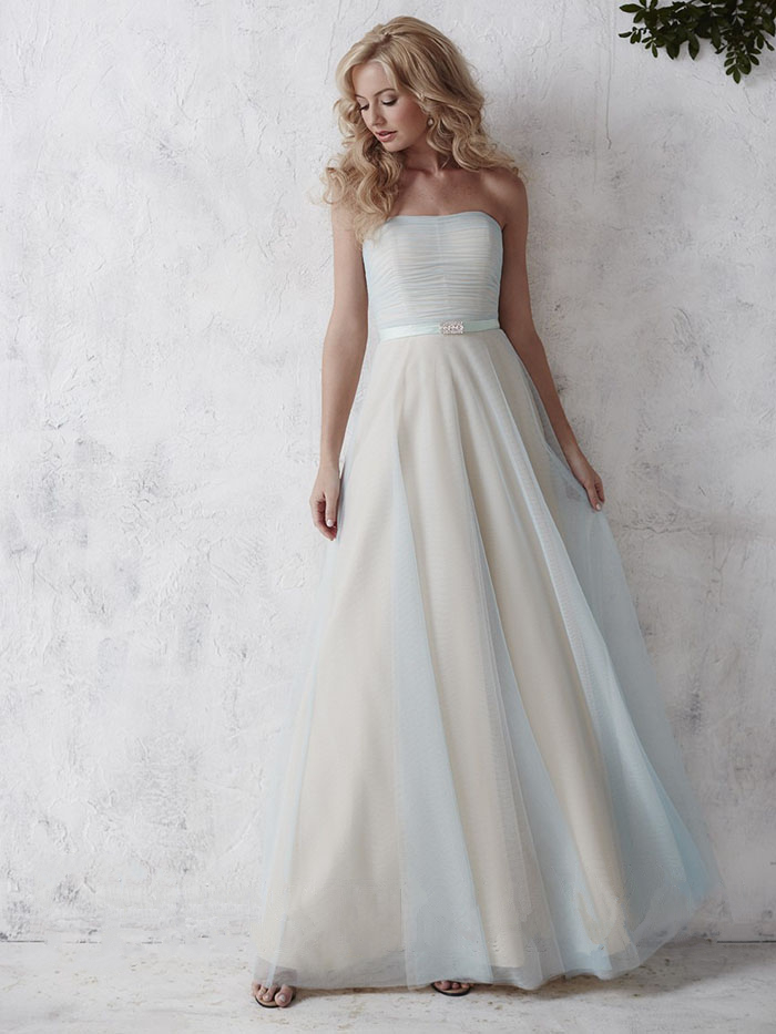 US$139.99 2016 Zipper White Chiffon Strapless A-line Floor Length Sleeveless Ruched