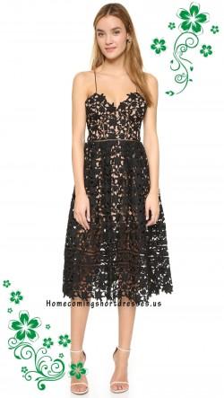 Black Spaghetti Strapelss Self Portrait Azaelea Lace Day Dress – $169.00 : homecomingshort ...