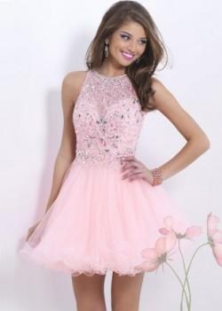 Pink Sheer Crystals Beaded Cutout Back Homecoming Dress [Blush 9854 Pink] – $157.00 : Lady ...