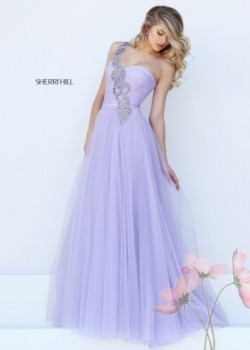 Ruched Flowy Lilac Floor Length A Line Prom Evening Gown 2016 [Sherri Hill 50409 lilac] –  ...