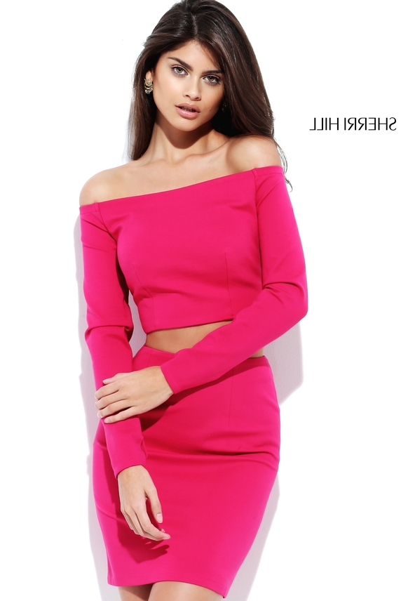 Short Two Piece Long Sleeves Pink Off Shoulder Bodycon Evening Dress [Sherri hill 50773] – ...