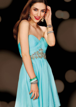 US$158.99 2015 Open Back Sleeveless Blue Sweetheart Crystals Chiffon Short