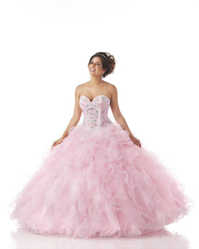 US$229.99 2015 Ruffled Lace Up Pink Tulle Sleeveless Crystals Sweetheart Floor Length