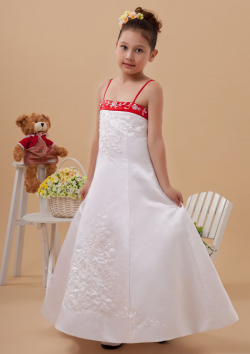 US$105.99 2015 Satin Buttons Appliques White Tea Length Spaghetti Straps Sleeveless