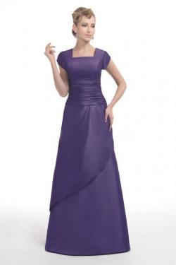 US$162.99 2015 Square Purple Zipper Short Sleeves Satin Floor Length