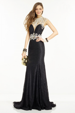 US$170.99 2016 Sweep Train Split Front Straps Appliques Lace Sleeveless Ruched Black