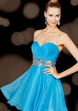 US$161.99 2015 Zipper Chiffon Blue Sleeveless Sweetheart Crystals Short