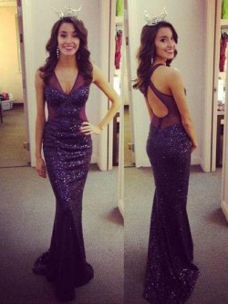 Shimmer Backless Prom Dresses, Low back Gowns with Long Sleeve