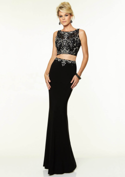US$165.99 2015 Beading Black White Blue Open Back Scoop Floor Length Chiffon