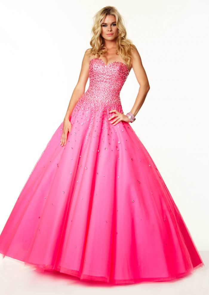US$193.99 2015 Beading Sweetheart Blue Fuchsia Sleeveless Lace Up Tulle Floor Length Ball Gown
