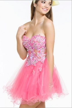 US$145.99 2016 Crystals A-line Sweetheart Appliques Zipper Tulle Sleeveless Pink