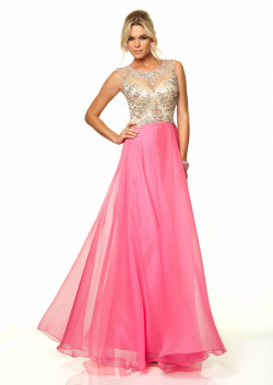 US$168.99 2015 Fuchsia Blue Beading Open Back Scoop Floor Length Chiffon