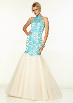 US$183.99 2015 Halter Beading Sleeveless Open Back Floor Length Mermaid