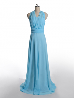 US$168.99 2015 Halter Ruched Zipper Sash Light Blue Sleeveless Sweep Train Chiffon
