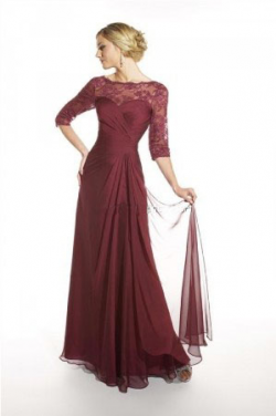 US$155.99 2015 3/4 Length Sleeves Scoop Zipper Chiffon Lace Floor Length