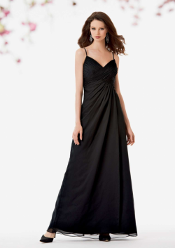US$138.99 2015 Spaghetti Straps Sleeveless Black Ruched Chiffon Floor Length
