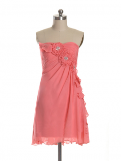 US$168.99 2015 Strapless Chiffon Flowers Sleeveless Ruched Short Length