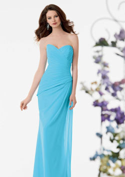 US$138.99 2015 Sweetheart Sleeveless Ruched Chiffon Light Blue Floor Length