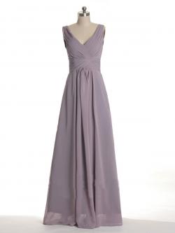 US$168.99 2015 V-neck V-back Zipper Grey Sleeveless Chiffon Ruched Floor Length