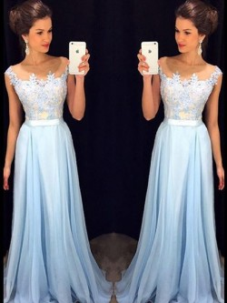 Affordable Scoop Neck Blue Chiffon Tulle Appliques Lace Floor-length Prom Dresses in UK