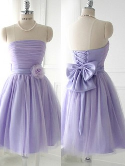 Amazing Strapless Satin Tulle Short/Mini Bow Lavender Bridesmaid Dress in UK