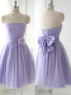 Amazing Strapless Satin Tulle Short/Mini Bow Lavender Bridesmaid Dress in UK