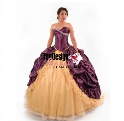 2017 brand new plum and gold beaded tulle taffeta pick up corset sweet 15 quinceanera dress