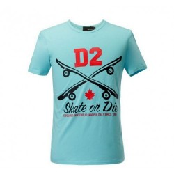 Dsquared2 Men D110 D2 Skate On Die Short Sleeves T-Shirt Blue