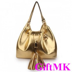 Michael Kors Camden Drawstring Large Gold Shoulder Bags