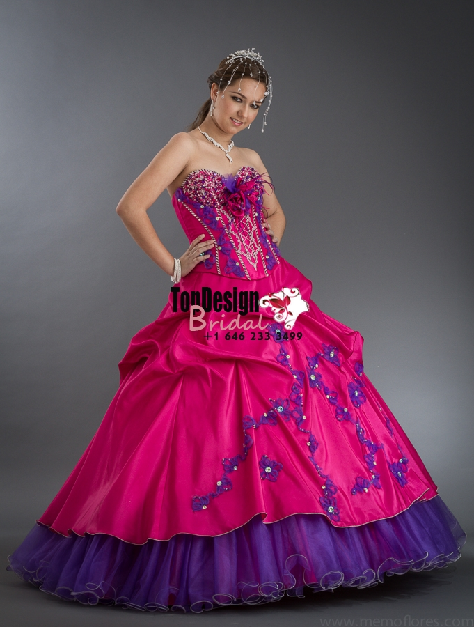 2017 New Beaded Flower Sweet 15 Ball Gown Fuchsia and Purple Satin Tulle Prom Dress Gown Vestido ...