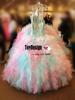 2017 New Beaded Sweet 15 Ball Gown Rainbow Color Satin Organza Prom Dress Gown Vestidos De 15 Anos