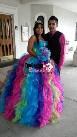2017 New Beading Sweet 15 Ball Gown Rainbow Color Satin Organza Prom Dress Gown Vestidos De 15 Anos