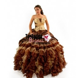 New brown and gold organza taffeta pick up puffy corset 2017 sweet 15 quinceanera dress